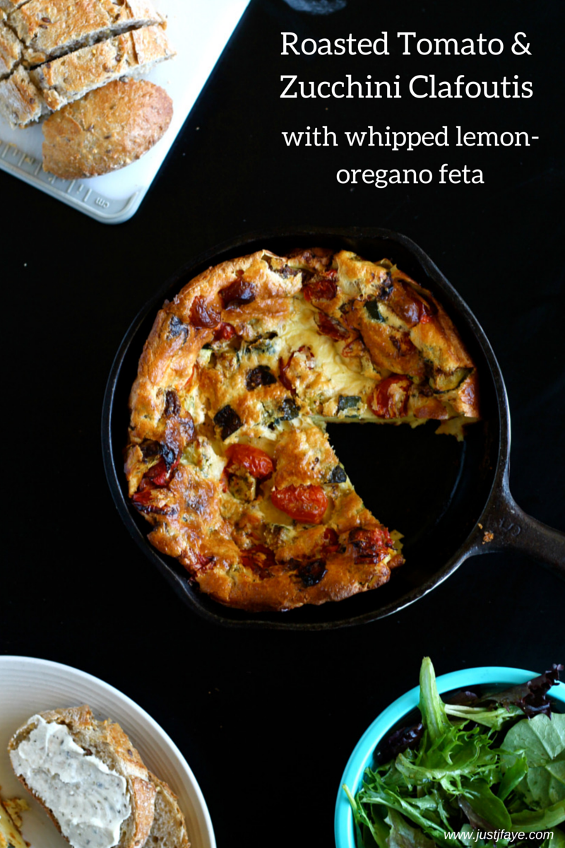 Roasted Tomato and Zucchini Clafoutis with Whipped Lemon-Oregano Feta ...